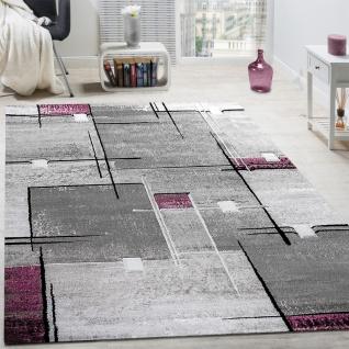 Designer Teppich Konturenschnitt Abstrakt Karo Linien Grau Lila Meliert