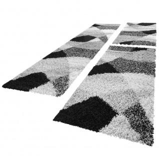 Bettumrandung Läufer Hochflor Shaggy Teppich Weich Grau Meliert Läuferset 3 Tlg