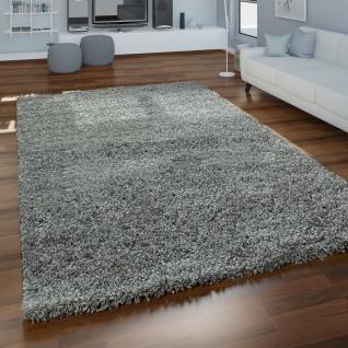 Grauer Hochflor Teppich Wohnzimmer Shaggy Flauschig Weich Strapazierfähig