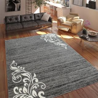 Teppich Wohnzimmer Modern Kurzflor Mehrfarbig Muster Floral Ornament Grau