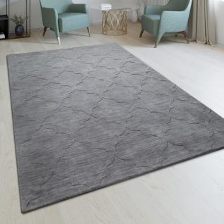 Handgefertigter Wohnzimmer Teppich Marokkanisches Design Orient Einfarbig Grau