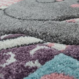 Kinderteppich Kinderzimmer Rosa Bunt Weich 3-D Patchwork Muster Bär Mond Sterne - Vorschau 3