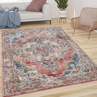 Teppich Wohnzimmer Kurzflor Vintage Pastell Mit Orient Muster Modern Rot Gelb