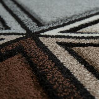 Kurzflor Teppich Grau Beige Braun Wohnzimmer 3-D Design Rauten Muster Modern - Vorschau 3