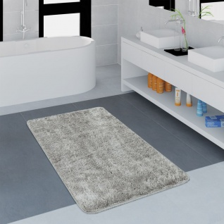 Moderner Badezimmer Teppich Einfarbig Microfaser Kuschelig Gemütlich In Grau