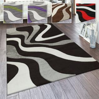 Designer Teppich Modern Abstrakt Wellen Optik Konturenschnitt In Versch. Farben und Größen