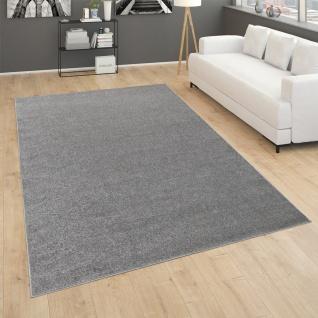 Teppich Für Wohnzimmer Einfarbig Kurzflor Schlicht Und Modern, In Dunkel Grau