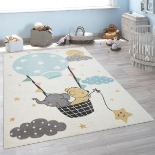 Kinder-Teppich, Kurzflor Für Kinderzimmer, Elefant, Bär, Balon, Mond, in Beige