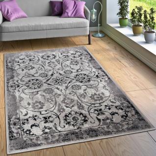 Designer Teppich Wohnzimmer Teppiche Florale Vintage Optik Bordüre Schwarz Weiß