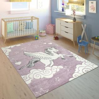 Kinderzimmer Teppich Lila Pastellfarben Einhorn Design Herzen Wolken Motiv Weich