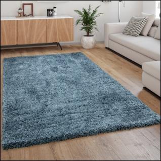 Hochflor Teppich Wohnzimmer Shaggy Langflor Weich Modern Einfarbiges Muster Blau