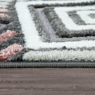 Kurzflor Teppich Wohnzimmer Grau Weiß Rosa Karo Muster ...