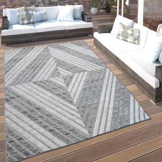 In- & Outdoor-Teppich Für Balkon Terrasse, Kurzflor Mit 3-D Rauten-Muster, In Grau