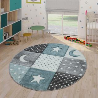 Kinderteppich Pastellfarben Kariert Punkte Mond Sterne Weiß Grau Blau - Vorschau 2