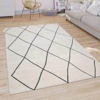 Teppich Wohnzimmer Skandi Rauten Muster Kurzflor Hell Und Modern In Weiß