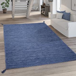 Teppich Wohnzimmer Modern Einfarbig Mit Fransen Baumwolle Webteppich In Blau