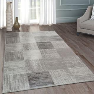 Hochwertig Moderner Heatset Designer Teppich Kurzflor Karo Design In Pastell Grau Weiß