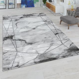 Wohnzimmer-Teppich, Kurzflor-Teppich Mit Marmor-Design Und Bordüre, In Grau Silber
