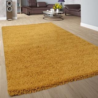 Shaggy Hochflor Teppich Wohnzimmer Langflor Kuschelig Einfarbig In Gelb