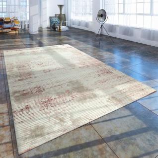 Kurzflor Wohnzimmer Teppich Used Look Abstrakt Cord Optik In Creme Rosa
