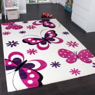 Kinderteppich Schmetterling Trendiger Teppich Butterfly Design Creme Pink
