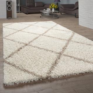 Teppich Wohnzimmer Hochflor Shaggy Skandi Design Mit Rauten Muster, Modern Beige