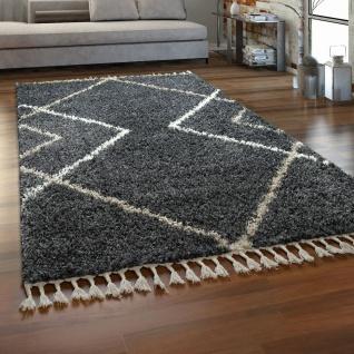 Teppich Wohnzimmer Grau Anthrazit Hochflor Rauten Design Skandi Shaggy Fransen