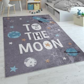 Kinderteppich, Spielteppich Für Kinderzimmer, Mit Raketen-Motiv Und Spruch, Grau