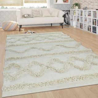 Hochflor Teppich, Wohnzimmer Shaggy m. 3D Rauten Muster, Skandinavischer Stil - Vorschau 5