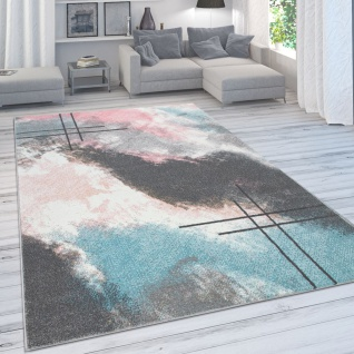 Designer-Teppich Für Wohnzimmer, Pastellfarben, Farbverläufe, Abstrakt In Rosa
