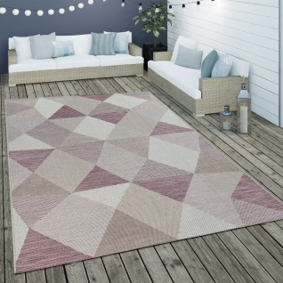 In- & Outdoor Flachgewebe Teppich Geometrisches Muster Rauten Design In Lila