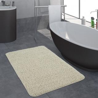Moderner Badezimmer Teppich Einfarbig Hochflor Badteppich Rutschfest In Creme - Vorschau 1