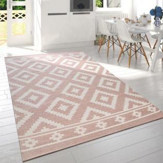 Moderner Wohnzimmer Kurzflor Teppich Skandi Design Rauten Muster In Rosa Weiß