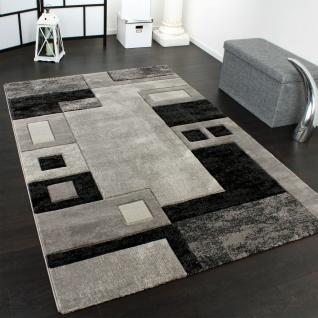 Edler Designer Teppich Konturenschnitt Kariert in Grau Schwarz Meliert