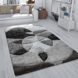 Hochflor Teppich Wohnzimmer Shaggy 3D Effekt Abstraktes Muster Flauschig Grau