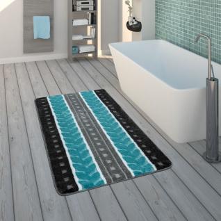 Badematte, Kurzflor-Teppich Für Badezimmer Mit Muster, 3-D-Look In Grau Blau