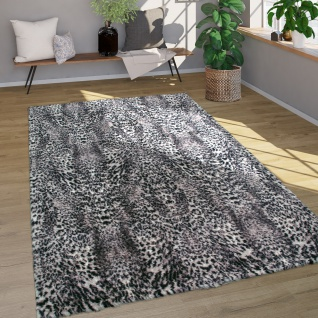 Hochflor Teppich Fellteppich Kunstfell Leoparden Design Weich Waschbar Grau