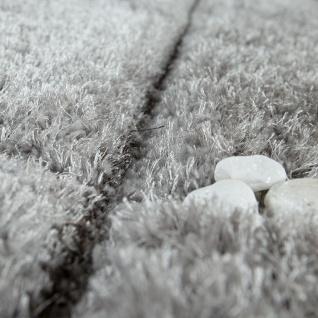Wohnzimmer Teppich Grau Anthrazit Weich Hochflor Shaggy Flauschig 3-D Karo Muster - Vorschau 3