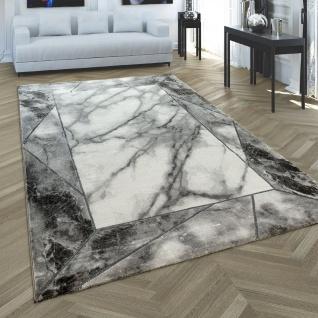 Kurzflor Teppich Grau Silber Weich Wohnzimmer Marmor Optik 3-D Muster Bordüre