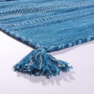 Designer Teppich Webteppich Kelim Handgewebt 100% Baumwolle Modern Gemustert Blau - Vorschau 4