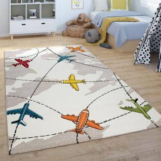 Kinder-Teppich, Spiel-Teppich, Kurzflor Für Kinderzimmer, Flugzeuge, In Beige