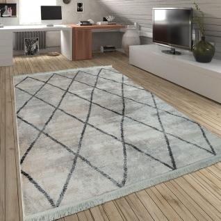 Wohnzimmer Teppich m. Rauten Muster, Skandinavischer Stil, Weich - Soft Garn - Vorschau 5