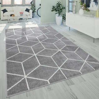 Wohnzimmer-Teppich, Kurzflor Im Skandi-Stil Mit Rauten-Muster, In Grau