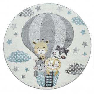 Kinderzimmer Teppich Blau Grau Heißluftballon Wolken Tiere 3-D Design Pastell - Vorschau 2
