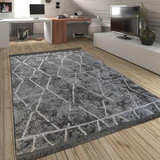 Teppich Wohnzimmer Rauten Fransen Skandinavisch Muster Karo In Grau Creme - Vorschau 1