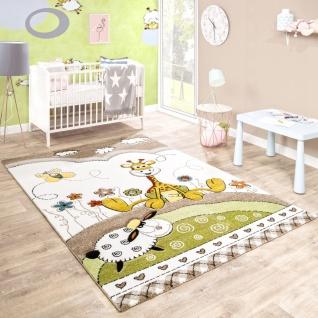 Kinderteppich Kinderzimmer Konturenschnitt Baby Giraffe Beige Creme Pastellfarben