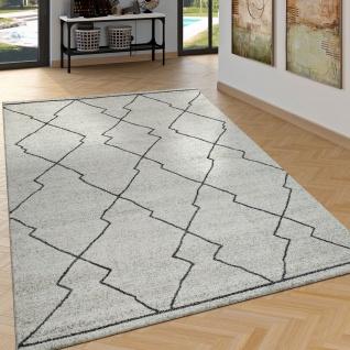 Teppich Beige Creme Wohnzimmer Ethno Stil Skandi Look 3D Effekt Rauten Muster