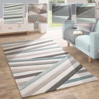 Wohnzimmer Teppich in Pastell Farben, Moderne Rauten Dreieck u. Zick-Zack Muster