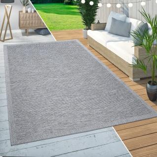 In-& Outdoor Teppich Balkon Terrasse Küchenteppich Modernes Bordüren Design Grau