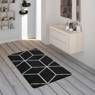 Badematte Mit Rauten-Muster, Kurzflor-Teppich Für Badezimmer In Schwarz Weiß